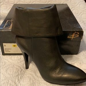 B. Makowsky Black Hannah Leather Ankle Boots